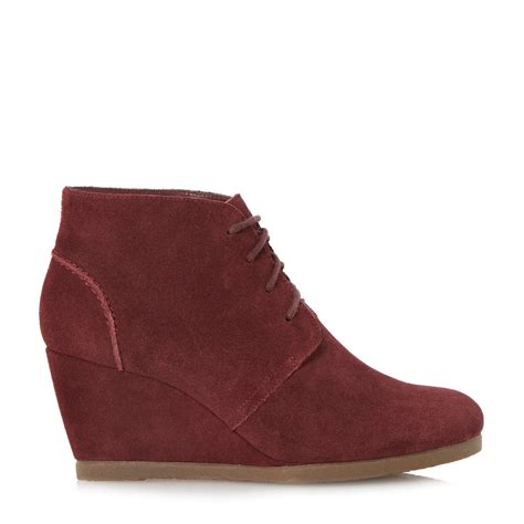 dune pippah suede wedge desert boot in purple lyst