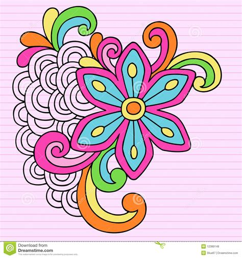 psychedelic big flower notebook doodle vector royalty free