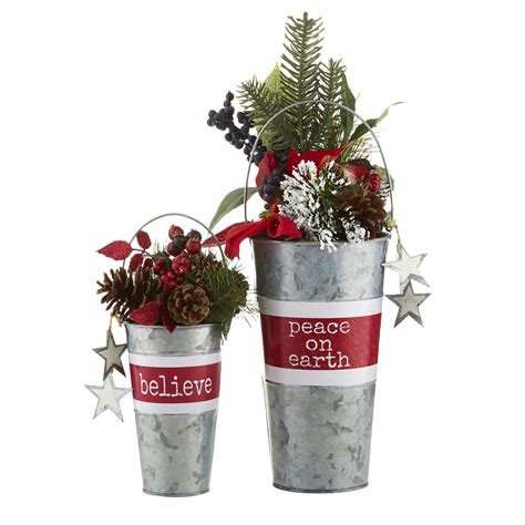 metal christmas planters set of 2 advent christmas