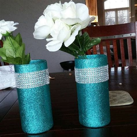5 Beautiful Glittering Glass Cylinder Vases. The vases in