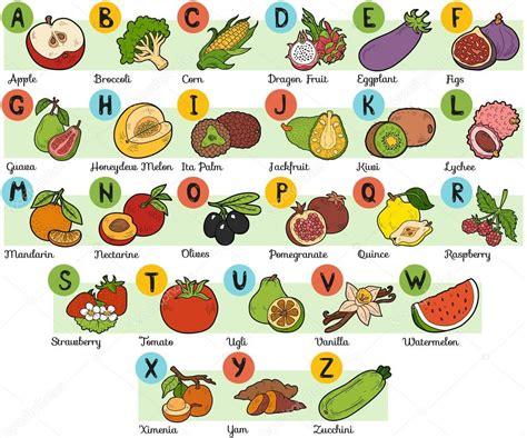 q es vegetables en espa ol alfabeto de colores para ni 241 os frutas y verduras vector