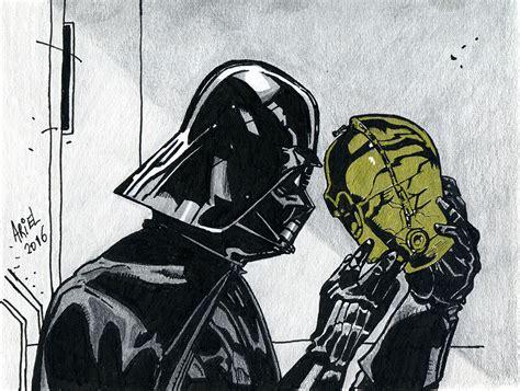 imagenes de star wars a lapiz dibujo de darth vader y c3po star wars ariel esteban art