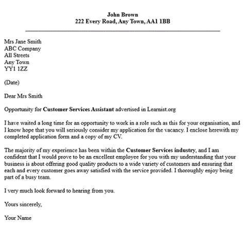 exle of a customer service cover letter cover letter exles for customer service assistant
