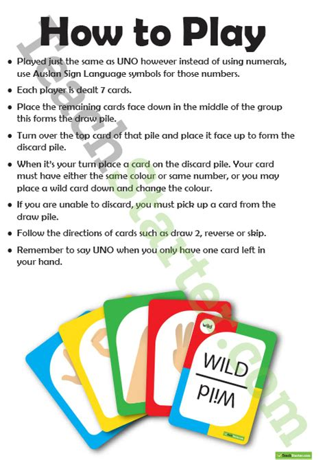 printable uno directions auslan sign language uno cards classroom game teaching