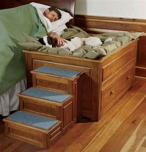 elevated dog bed  stairs wood furniture decor