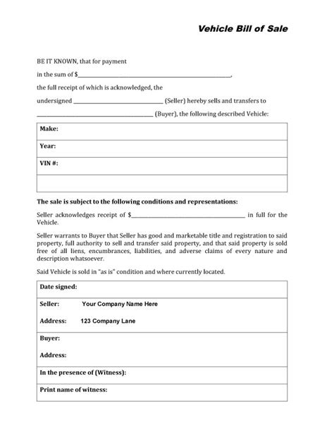 Free Printable Auto Bill Of Sale Form Generic Car Bill Of Sale Form Template