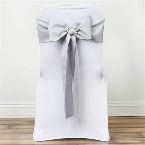 wedding chair bows lace polyester chair sash silver 5pcs efavormart