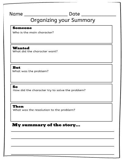 swbst someone wanted but so then graphic organizer use