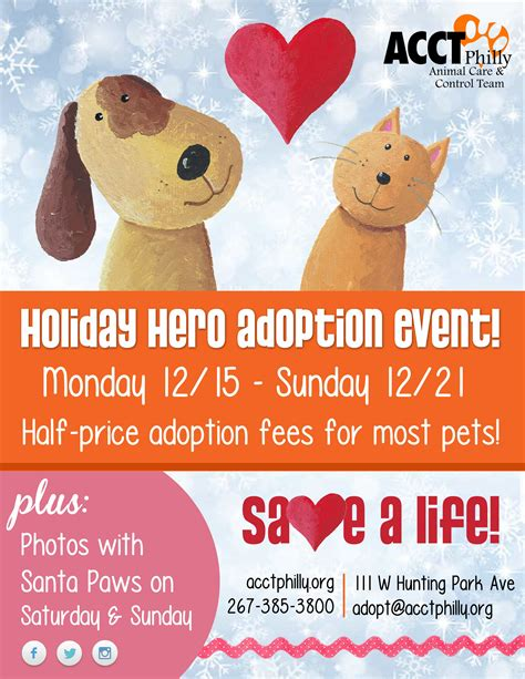 adoption events december events and adoption promotions acct philly