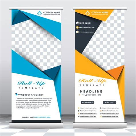 templates for retractable banners blue and yellow roll up templates free vector graphic