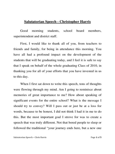 A Speech Outline Exle by Salutatorian Speech Exles 5 Free Templates In Pdf Word Excel