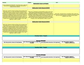 Florida Standards Marzano Interactive Lesson Plan Template Fifth Grade Mafs Interactive Lesson Plan Template