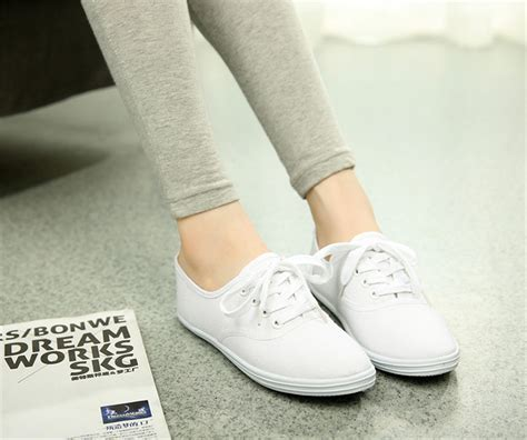 tennis shoe flats classic womens canvas casual sneakers tennis flats