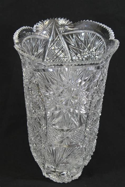 vase patterns cut crystal glass swirling star pattern 12 quot tall round