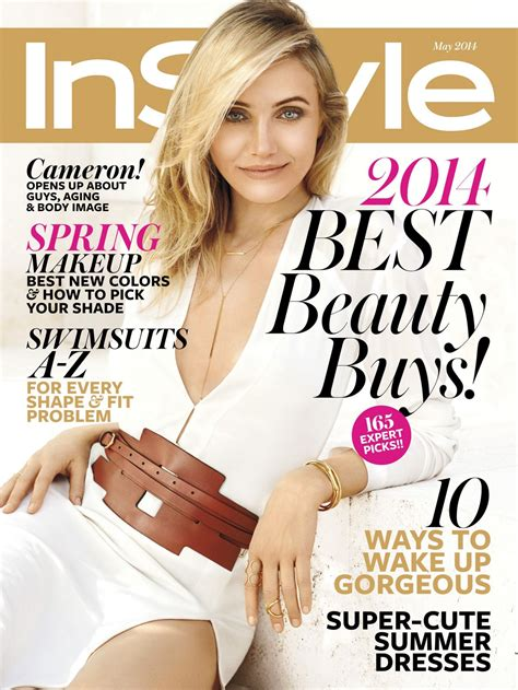 On Cover Of In Style by Cameron Diaz Instyle Magazine May 2014 Issue
