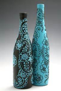 vases design painted wine bottle vase up cycled turquoise idea