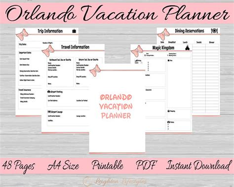 printable orlando holiday planner orlando vacation printable plannerdisney world planner
