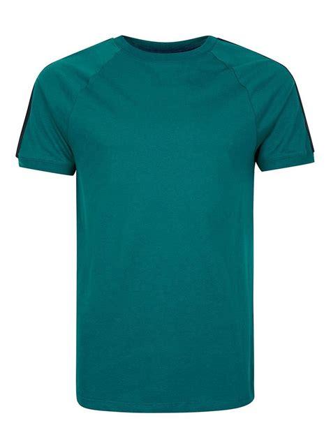 teal color shirt teal contrast taping raglan t shirt topman