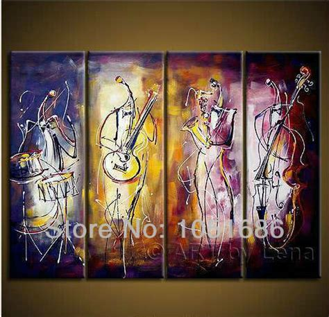 painted 4 pcs canvas pictures set modern abstract