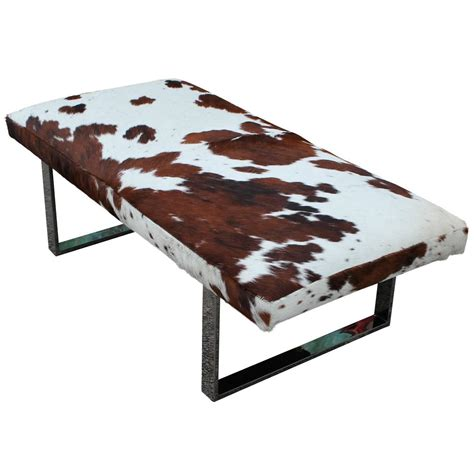 cowhide bench striking cowhide and chrome bench of ottoman at 1stdibs