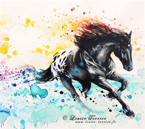 watercolor horse tattoo tropical mixed media by louise terrier