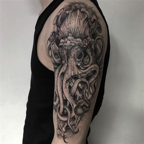 black tattoo and eerie creature tattoos by russian artist bored