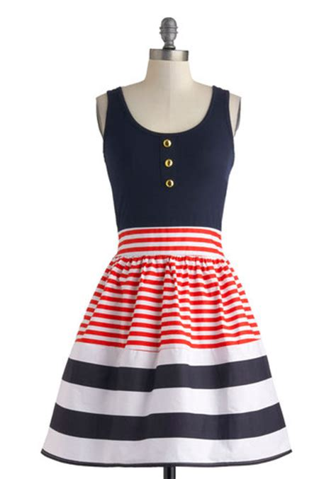 Sale Bj 4389 Stripe White Dress schooner said than done dress in stripes mod retro