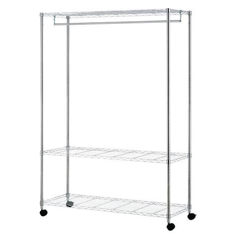 Wire Wardrobe by 1220 X 460 X 1750mm Chrome 1 Shelf Wire Wardrobe