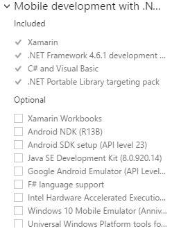 Minimal Xamarin install for Visual Studio 2017 Community
