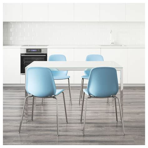 Torsby Leifarne Table And 4 Chairs Glass White Light Blue Ikea Glass Dining Table And Chairs