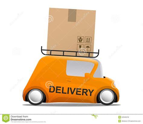orange delivery delivery orange mini car with a box stock vector