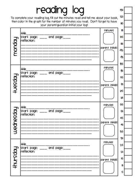 printable reading log for 3rd grade ainslie34 homework