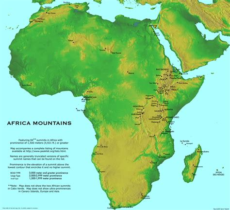 mountain map large detailed africa mountains map large detailed map of mountains africa vidiani maps