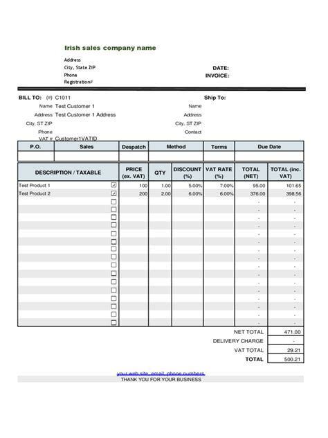 invoice template with vat vat invoice template free hardhost info