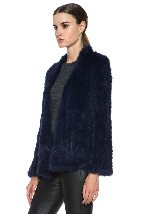 knitted mink jacket lyst nicholas knitted fur jacket in blue