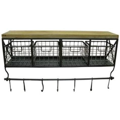 Black Metal Wood Shelf With Baskets 7 Hooks black metal wood shelf with baskets from hobby lobby