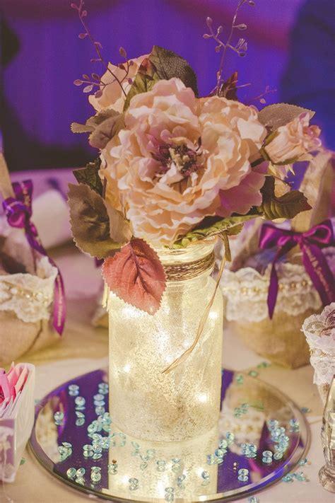 wedding reception center pieces diy glitter mason jars