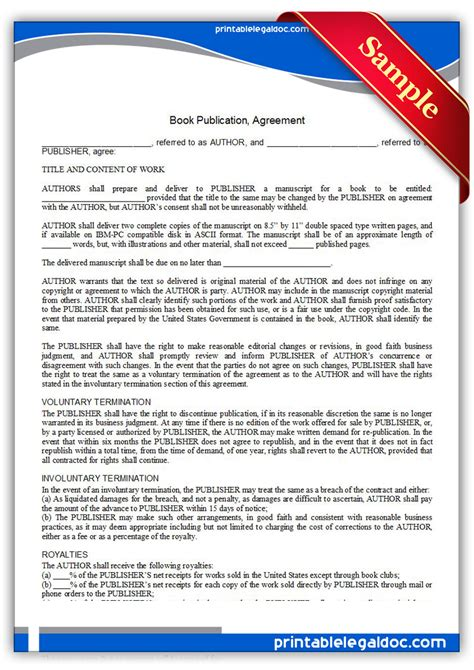 Free Printable Book Publication Agreement Form Generic Book Publishing Contract Template