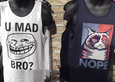 Bro Tank Meme - meeting of the memes trollface and grumpy cat tank tops