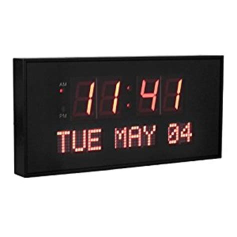 digital wall clock amazon big oversized 16 inch x 7 5 inch digital led calendar wall