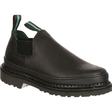 s black leather slip on romeo work shoes