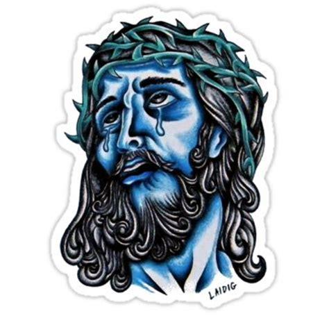 tattoo flash of jesus blue jesus sticker traditional tattoo flash art and