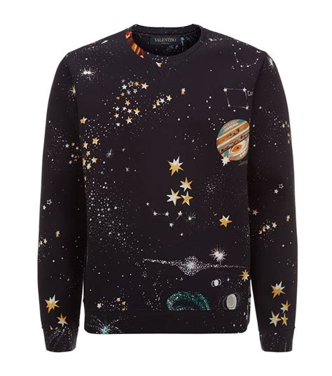 valentino neoprene outer space sweater in black for lyst