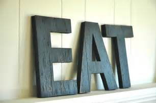 eat wall large letters handmade wood sign by shophomegrown