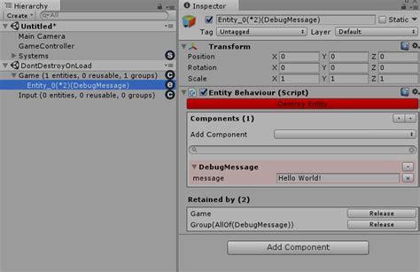 unity tutorial hello world unity tutorial hello world 183 sschmid entitas csharp wiki