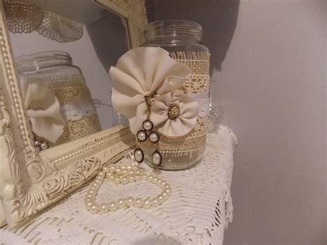 Lace on jar, shabby chic, vintage, rustic, wedding decor