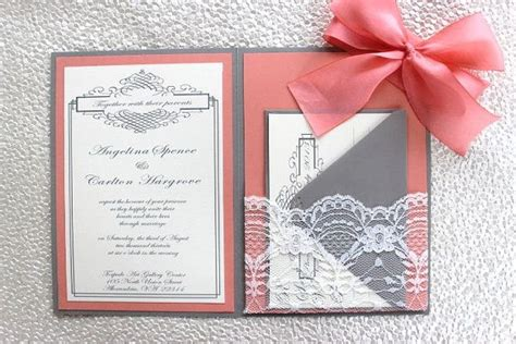 coral wedding invitations grey coral lace wedding invitation by alexandrialindo on