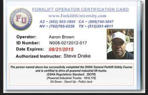 equipment operator certification card template get your forklift license on line