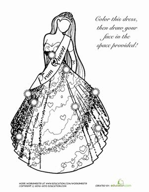 coloring pages of prom dresses prom dress worksheet education com