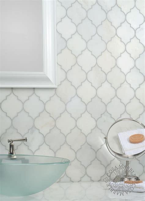 snow white arabesque glass mosaic tiles kitchen beautiful arabesque waterjet mosaic in asian statuary